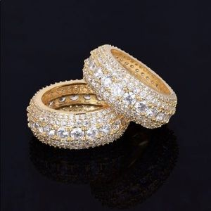💎Iced Out 5 Row 14k Gold plated ring size 10💎